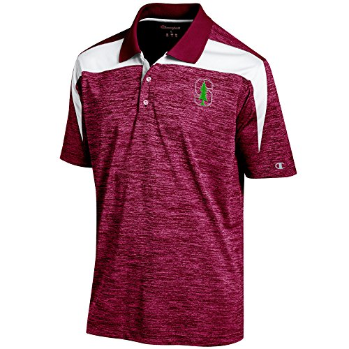 Champion NCAA Stanford Cardinal Men's Boosted Stripe Color Blocked Polo, Medium, Cardinal ()
