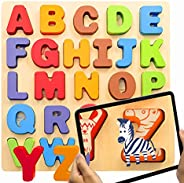 KIPPTO Wooden Alphabet Puzzles. Free Augmented Reality App, Favorite A-Z Animal Imprints with AR Makes Learnin
