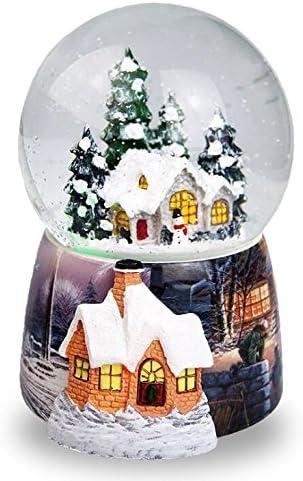 Navidad casa en la nieve bola de cristal caja de música giratorio ...