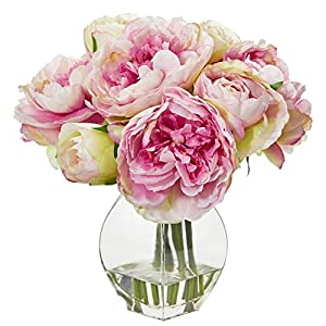 Nearly Natural 1825-PK Peony Artificial Vase Silk Arrangements, Pink 27
