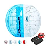 Inflatable Bumper Balls for Adults/Kids, Human Hamster Ball 5 ft /4 ft, Bumper Bubble Soccer Ball W/Ultra Thick PVC (Upgraded Half Blue, 5 FT)