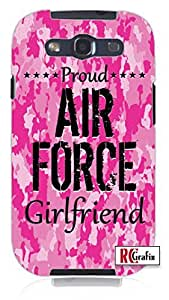 Premium Pink Camo Proud Air Force Military Girlfriend Camouflage Unique Quality Hard Snap On Case for Samsung Galaxy S3 SIII i9300 (WHITE)