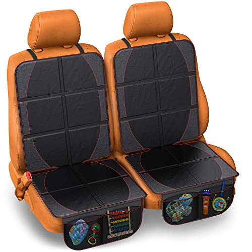 FORTEM Car Seat Protector 2PK, Waterproof Backseat Thick Padding Cover for Car Seat, Protects Against Damage w/Bottom Storage (2 Pack)