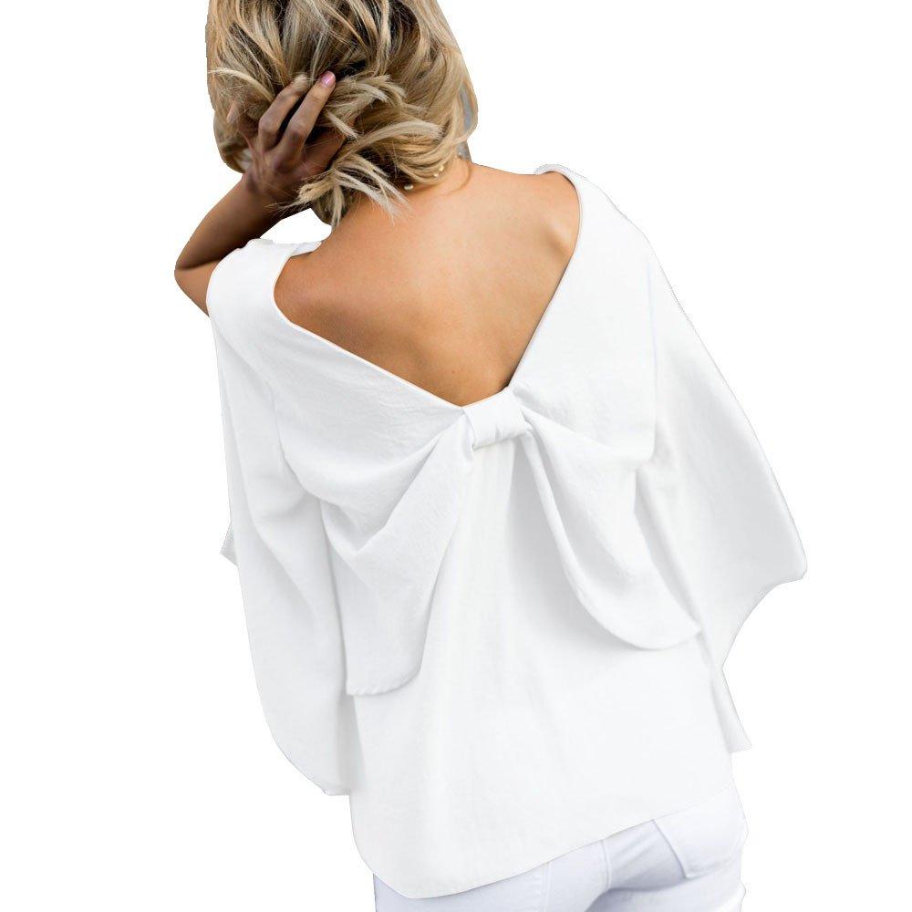 Women Back V-Neck Bowknot Blouse Chiffon Long Sleeve T Shirt Tops (M, White)