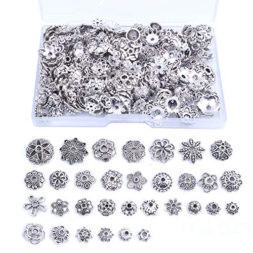 (Jdesun 120g Bead Caps with A Clear Storage Box, Tibetan Silver Beads Spacers Jewelry Findings Accessories for Jewelry Making 300-350 Pieces)