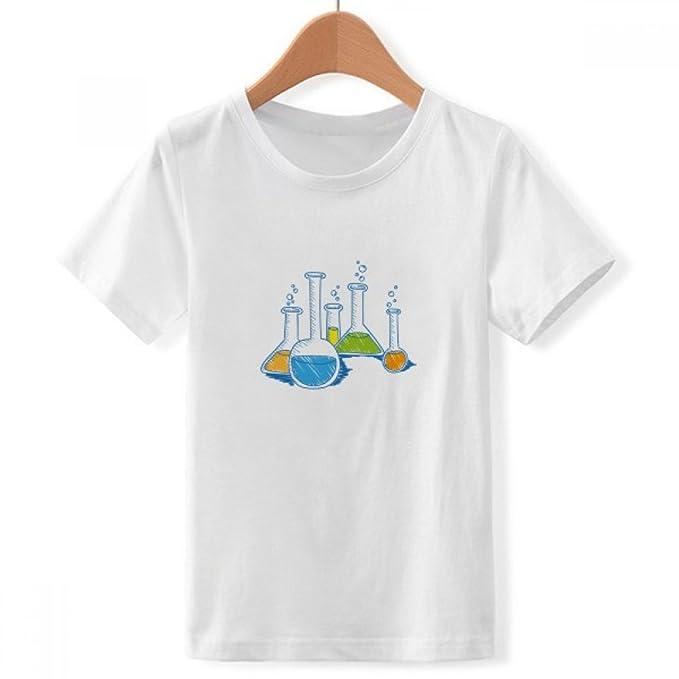 DIYthinker Tubo de ensayo patrón de la química líquido tripulación Cuello Camiseta para Chico Pequeña