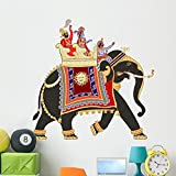 Wallmonkeys Decorated Indian Elephant Wall Decal Peel and Stick Graphic (48 in W x 47 in H) WM211811