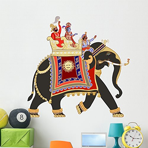 Wallmonkeys Decorated Indian Elephant Wall Decal Peel and Stick Graphic (48 in W x 47 in H) WM211811 by Wallmonkeys