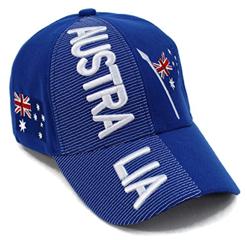 "High End Hats ""Nations of Asia and Pacific Hat Collection"" Embroidered Adjustable Baseball Cap, Australia with Flag, Blue (Cap Australia)"