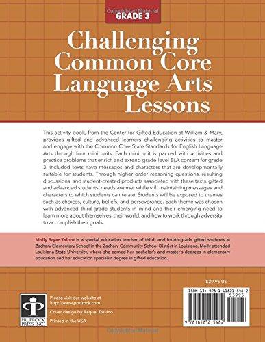 Amazon.com: Challenging Common Core Language Arts Lessons (Grade 3 ...
