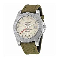 Breitling Avenger II GMT Automatic Silver Dial Green Fabric Mens Watch A3239011-G778GRFT