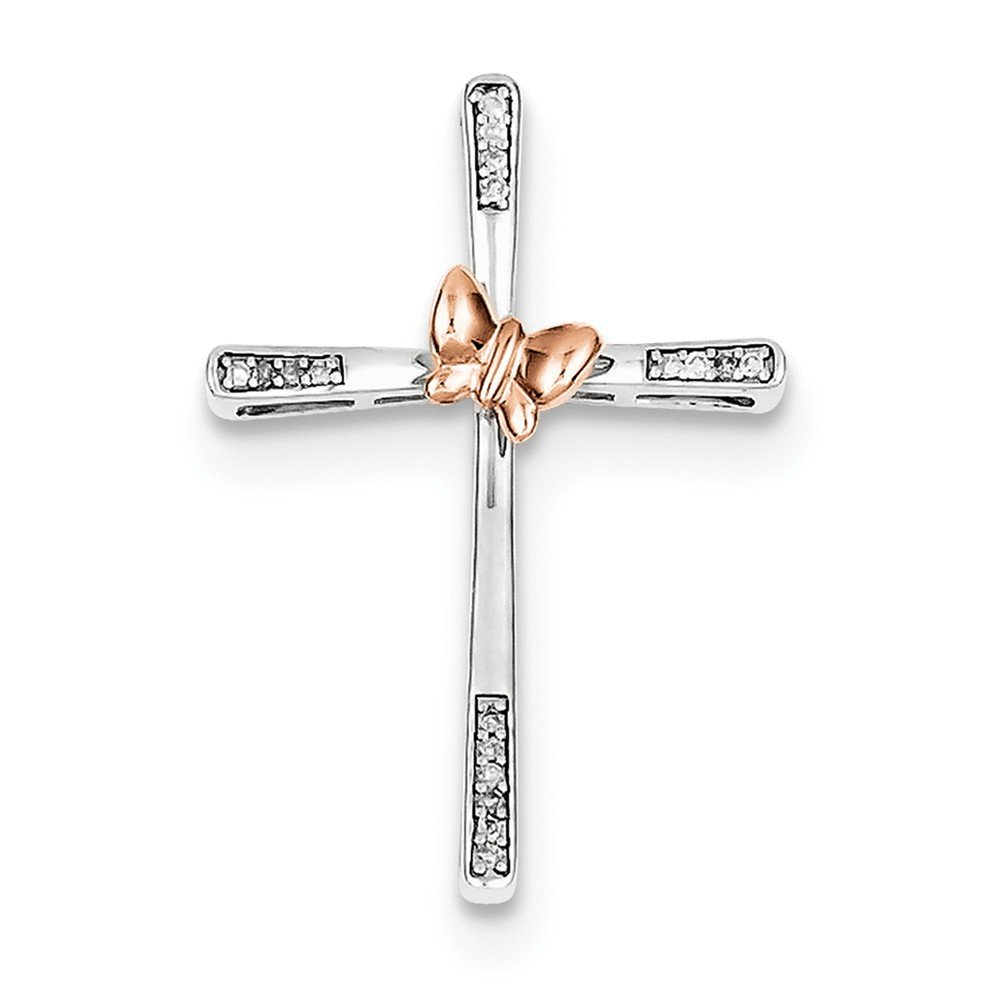 Sterling Silver 14k Rose Gold-Plated Butterfly Diamond Cross Pendant (Color H-I, Clarity SI2-I1)