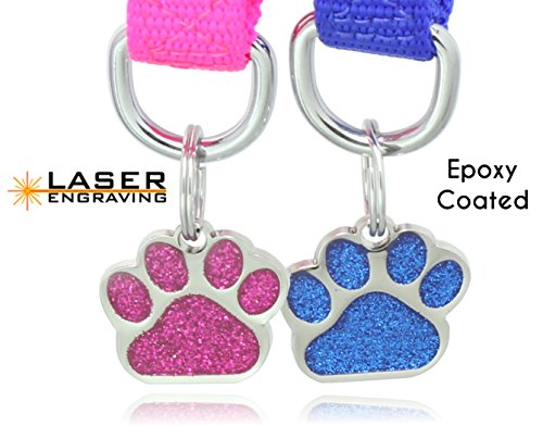 (Epoxy Coated Laser Etched Glitter Paw Pet ID Tags Custom Personalized for Dog & Cat Paw Print Tag (1-pc with Epoxy))