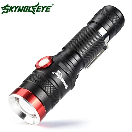 PIEBO Mise à niveau Zoomable Shadowhawk XM-L L2 LED lampe de poche tactique LED Torche militaire de charge USB (A)