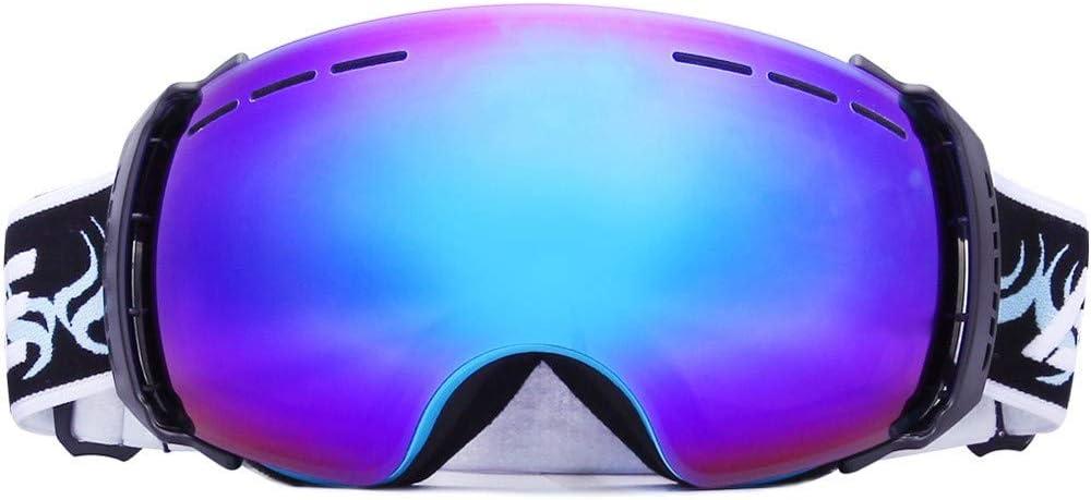 SXC Gafas de Esquí Snowboard Máscara Nieve Espejo UV400 Protección Doble Capa Lente Correa Antideslizante Casco Compatible para Hombres y Mujeres Jóvenes