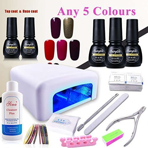 (Pick Any 5 Colors) Nail Art Polish Top Base 36W UV Lamp ...
