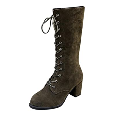 7d3186151560 Xjp Women s Faux Suede Lace-up Combat Boots Chunky Heel Mid-Calf Boots (