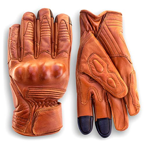 Premium Leather Motorcycle Gloves (Camel) Cool, Comfortable Riding Protection, Cafe Racer, Half Gauntlet with Mobile Touchscreen (Small)