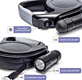 Extra Long Dog Retractable Leash 26 feet with Light. Detachable Flashlight. HEAVY DUTY, NO TANGLE -Strong Nylon Lead-Best Dog Leash for Small, Medium, Large Strong Dogs. A great Gift