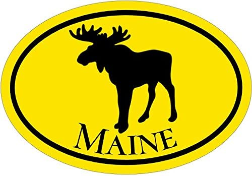 Moose Bumper Sticker WickedGoodz Oval Yellow Maine Vinyl Decal Perfect Vacationer Gift