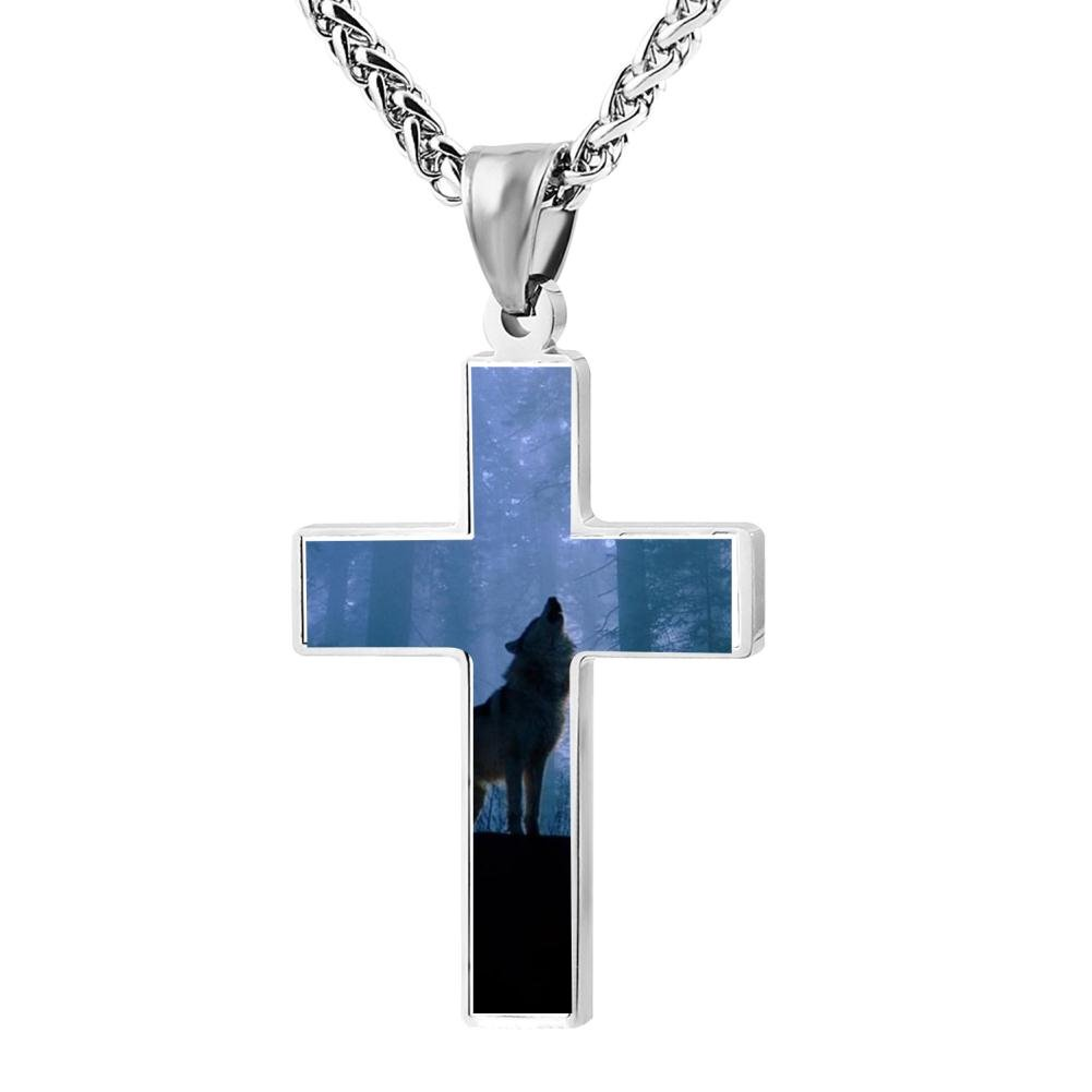 Fashion Leader Wolf Christian Cross Necklace Religious Jewelry Pendant