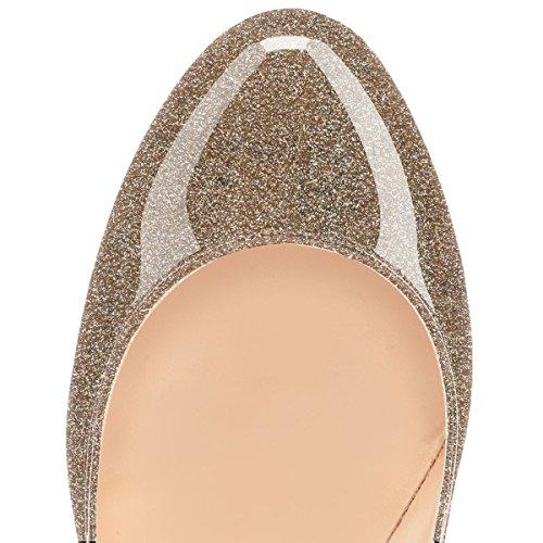 Davanti Oro 12CM Chiuse donna Glitter da Scarpe High Heels Soireelady Tacco Classico Scarpe col OB0UUw