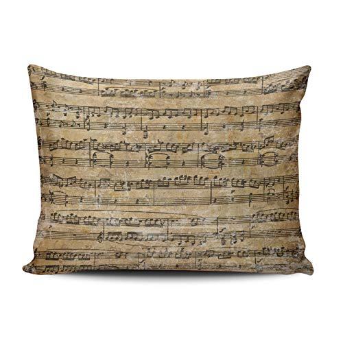 KAQIU Home Decoration Pillowcase Beige Vintage Sheet Music Custom Cushion Boudoir Size 12x16 Inch Throw Pillow Cover Case Hidden Zipper Chic & Personality Rectangular One Sided Printed Design