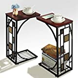Coffee Table and End Tables Yaheetech Snack Table Sofa Side Table Coffee Tray End Table for Living Room, Set of 2