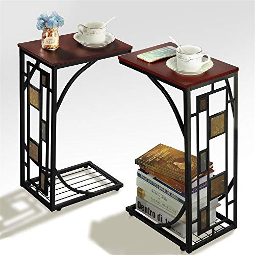 Yaheetech End Tables Snack Table Sofa Side Table Coffee Tray for Living Room, Set of 2 ()