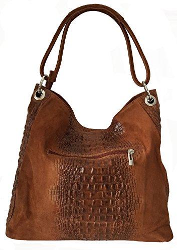 Sa Lucca echt Leder Schultertasche Tasche Shopper Damentasche Kroko Wildleder