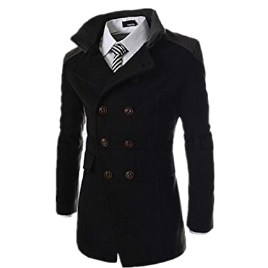 3a90ab91d1d Susanny Autumn Winter Outerwear Jacket Double Breasted Overcoat Men Coats  With High Collars XS Black
