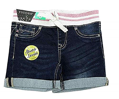 VIGOSS The Malibu Girls Stretch Denim Pink Mid Shorts (Pink/Blue, 8)