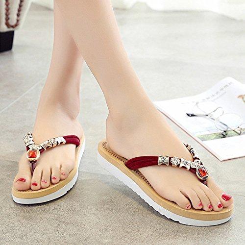 KHSKX-Diamond Flip Flops _ Splint Fashion Women Summer Summer Student New Cute Korean Tidal Flat Sandals Shoes Thirty-nine GZALvQuW