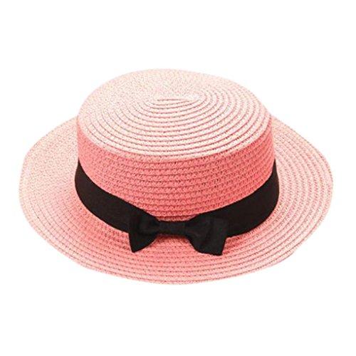Children Girls Straw Bowler Derby Hat Round Flat Brim Boater Cap (Pink)