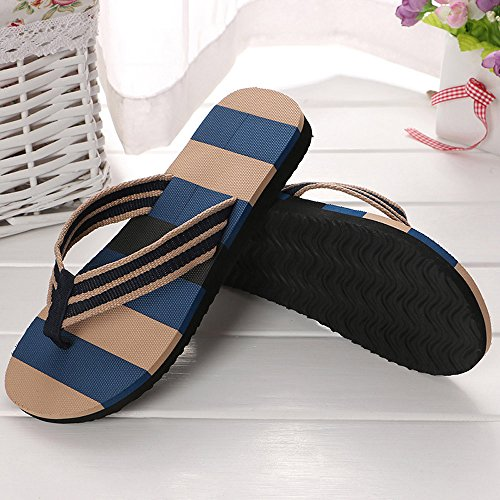 Corriee Mens Fashion Striped Printed Indoor Outdoor Flip Flops Breathable Anti-Slip Shoes Male Summer Slippers Blue by Corriee (Image #2)