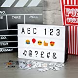 Global Gizmos Miniature A6 3-Row LED Cinematic Light Box with Magnets and Letters/Numbers/Symbols Tiles, White