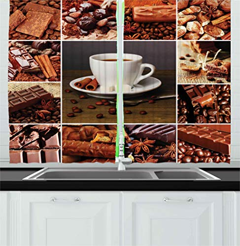 (Ambesonne Brown Kitchen Curtains, Coffee and Chocolate Themed Collage Mug Cinnamon Sweet Bars Cocoa Tasty Yummy Snacks, Window Drapes 2 Panels Set for Kitchen Cafe, 55W X 39L Inches, Brown White)