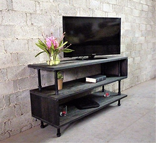 Furniture Pipeline TV Stand Entertainment Unit, Living Room, Rec Room, Office, Metal with Reclaimed Aged Wood Finish (Sustainable Furniture Living Room)