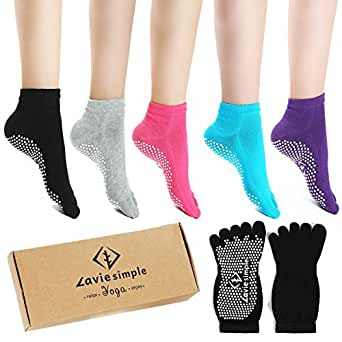 Yoga Socks Full Toe Non Slip Skid Pilates Barre Cotton Grips Sock with for Women 5 Pairs