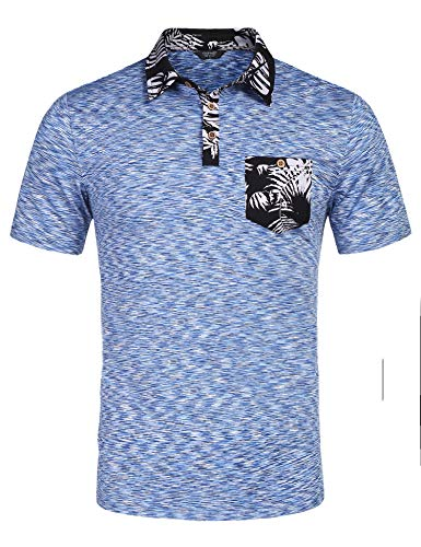 COOFANDY Men's Short Sleeve Polo Shirts Rose Floral Embroidery Casual Cotton Polo T Shirt (Medium, Type 2-Blue)