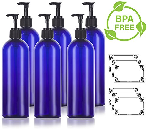 16 oz/500 ml Cobalt Blue Slim PET Plastic Bottles (BPA Free) with Black Lotion Pump (6 pack) + Labels for Shampoo, Conditioner, Body Wash, Lotion, and more