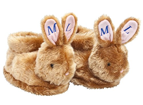 Personalized Brown Plush Easter Bunny Children's Slippers - Full Coverage, Soft Insoles, Non-Slip Gripper Bottoms - Large, Blue Font