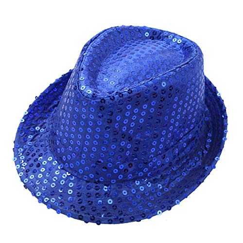 YiZYiF Kids Girls Boys Shiny Party Sequins Fedora Hat Hip Hop Jazz Dance Stage Performance Costumes Blue One Size -
