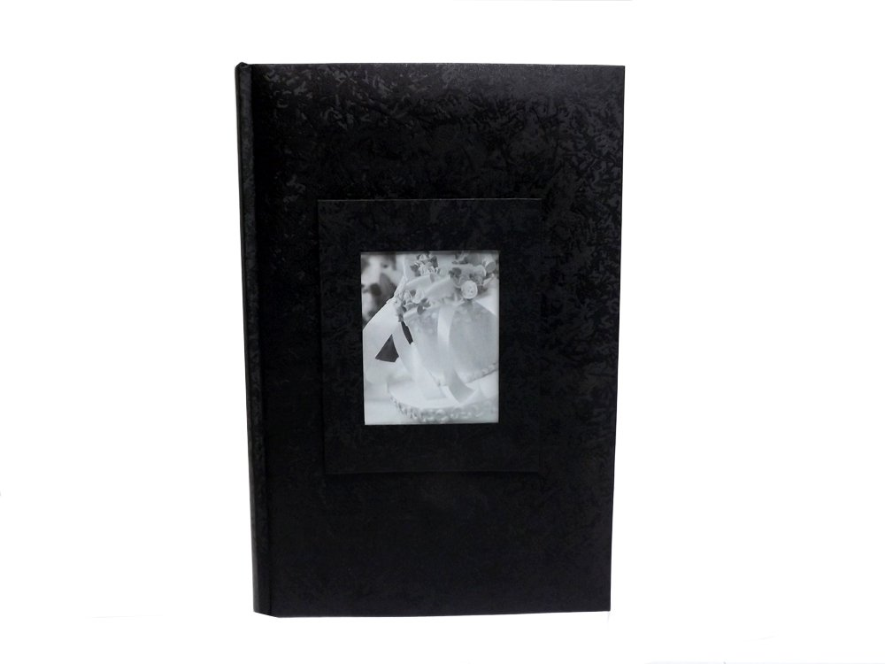 Wedding Story Photo Album/(set of 2)Jaquard Design w/window , Black,Holds 300photos, 4 by Showoff Albums