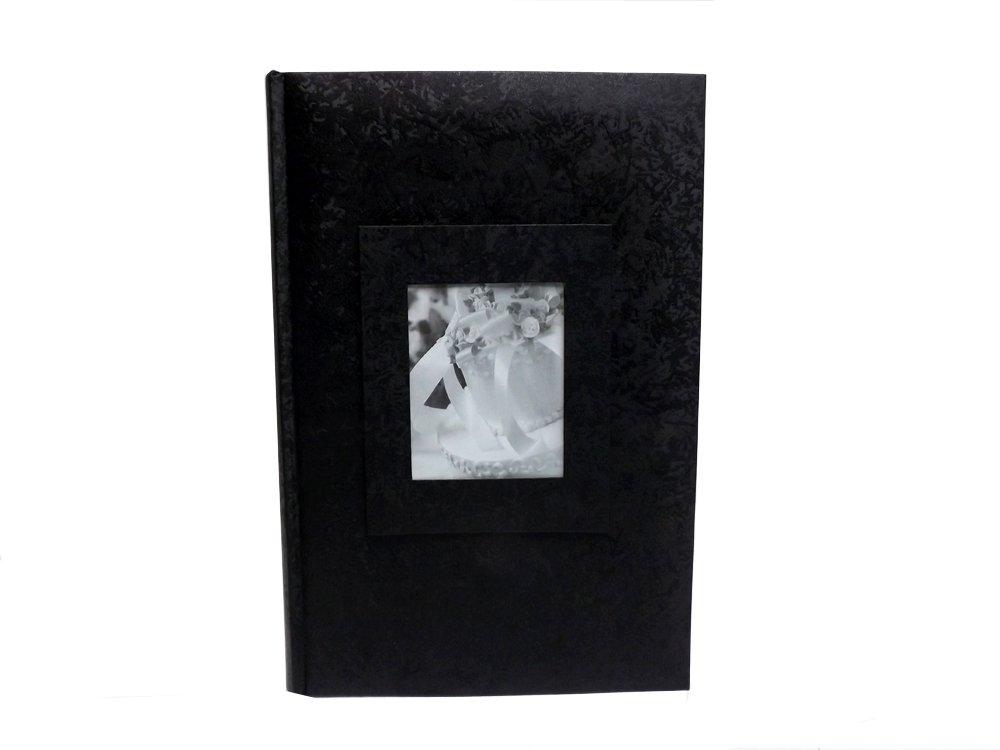 Wedding Story Photo Album, Jaquard Design w/window, Black,Holds 300photos, 4X6 Size (One Album)