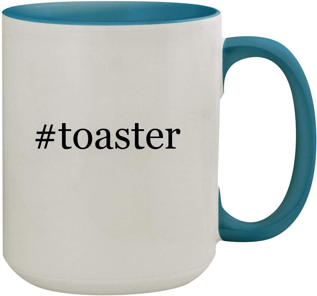#toaster - 15oz Hashtag Ceramic Inner & Handle Colored Coffee Mug, Light Blue