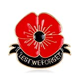 YAVONA Red Lest We Forget Poppy Brooches Pins Broach For Hero Soldier Remembrance day Gifts