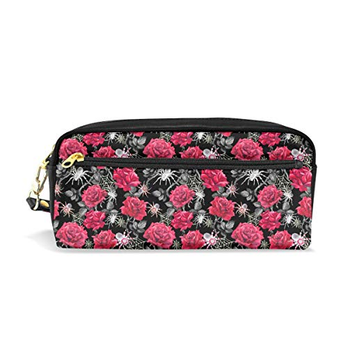 - ALLDET-PU Red Roses Spiders Web Cute Cool Versatile Stylish Students Pencil Case Pen Pouch for Work Office Craft Supplies