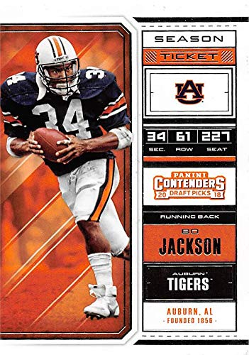 Tickets Tigers Football (Bo Jackson football card (Auburn Tigers) 2018 Panini Draft Picks Season Ticket #12)