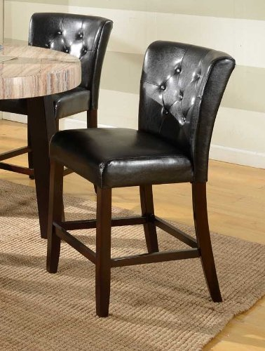 Roundhill Furniture Big and Thick Black Button Back Counter Height Parsons Stools, Set of 2